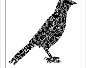Oriole Papercut Template - Svg Paper Cut Templates Stencil Line Art Henna Mandala Pdf Cut Files Digital Clip Art Drawing