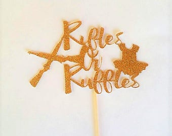 12 Count Rifles or Ruffles Cupcake Toppers – Baby Shower– Decorations- Glittery Topper- Party Décor - Baby Gender Reveal – Dessert Toppers