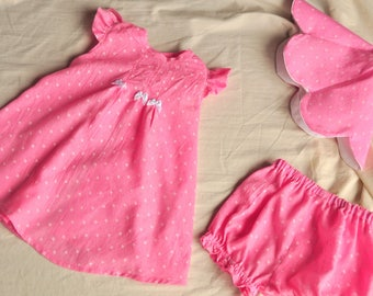 Pink Sundress with Petal Hat and Bloomers
