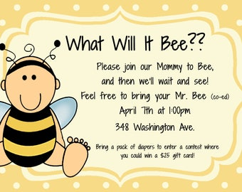 Bee baby shower invitation, bee shower invitation, baby bee shower, baby shower bee, bee invitation, bee theme shower, what will it bee, bee