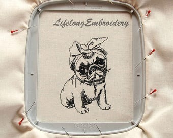 A Digital Machine Embroidery Ms Pug Red Work Design
