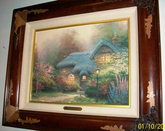 "Listing 184 is the Thomas Kinkade Signed ""Heather's Hutch""  Canvas Print"