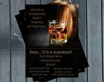Liquor Birthday Party Invitation / Scotch Birthday Invitation / Mens Birthday Invitation / 50th / 40th / Liquor Invitation /  Men's