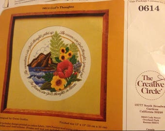 VINTAGE 1982 God's Thoughts Embroidery Kit 0614 by Creative Circle SEALED NEW