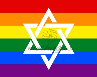 Fancy Jewish Pride Flag with Large Star