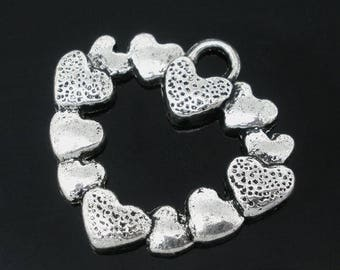 1 charm 25 * 27mm antiqued silver tone heart charm pendant