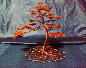 Wire tree - Copper bonsai sculpture with roots - 0417