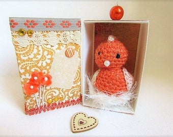 This Easter! little red hen in crochet with nest in its box