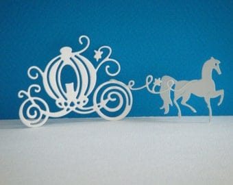 Cut little carriage and his horse to create white drawing paper