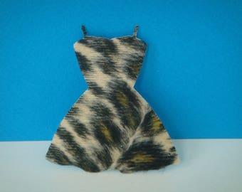 Cutout dress adhesive black and beige leopard fur