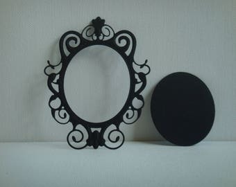 Cut out frame mirror with black design for scrapbooking and card paper