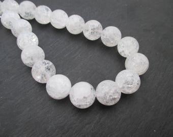 Crackle rock crystal: 2 beads 14 mm