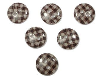 LOT 6 buttons: gingham brown/white 13mm round