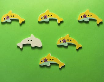 SET of 6 wood buttons: 29 * 15mm yellow Dolphin