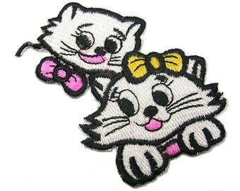 FABRIC FUSIBLE APPLIQUE: 2 cats white/black 85 * 55mm