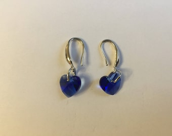 Hooks Blue Crystal heart earrings shiny silver