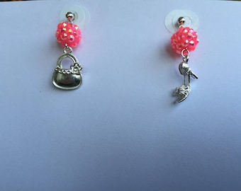 Girls handbag shoe charms earrings silver supports pink beads