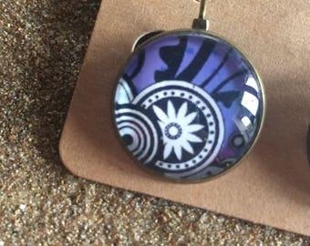 Stud Earrings geometric black and purple