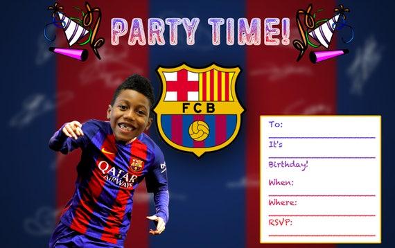 fc barcelona custom birthday invitation printable digital