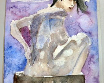 lilou watercolor, nude woman in the bath