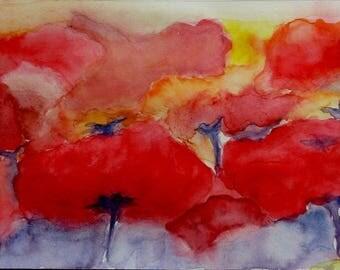 watercolor poppy fields