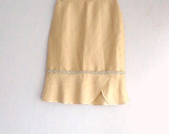 Romantic Bohemian silk Organza flowers and gold/Beige skirt, size M - 40