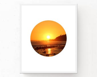 Gold Wall Art, Instant Download, Circle Art, Printable Art, Sunset Print, Malibu Print, Ocean Decor, Ocean Photography, Beach House Decor