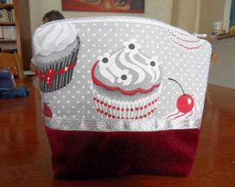 CUPCAKE fabric makeup bag