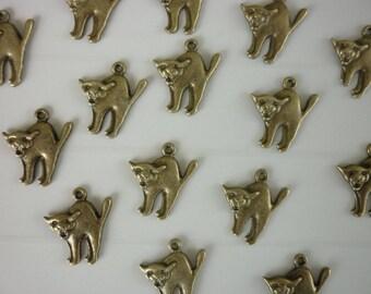 5 charm cat bristle hairs in bronze