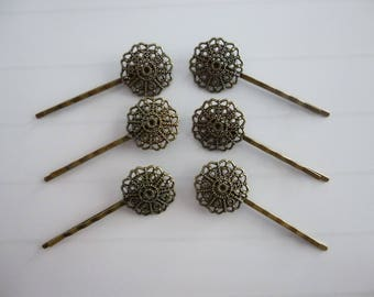 4 bronze flower Bobby pins round tray blank 2.3 cm