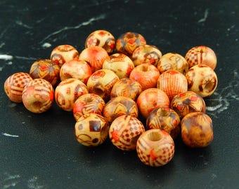10 Tibetan printed wood beads