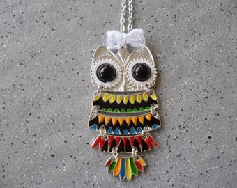 Necklace, large OWL in silver
