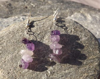 pair of earrings with Amethyst chips