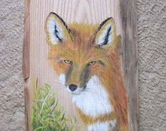 Fox Red painting on wood acrylic paint