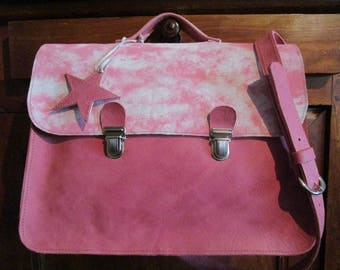 "Messenger ""Briefcase"" pink leather and nubuck"