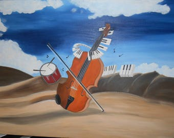 painted with oil entitled le violon