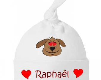 Beanie Baby dog bow and heart personalized with name
