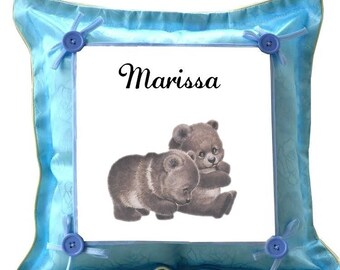 Cubs blue pillow personalized with name