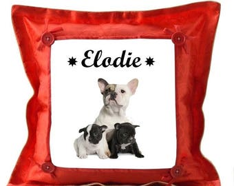 Red cushion french bouldog dogs personalized with name