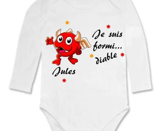 Little devil personalized with name Bodysuit