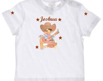 Little cowboy personalized with name baby t-shirt