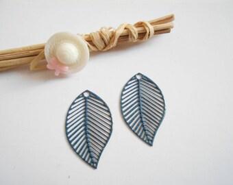 set of 2 prints Navy Blue enameled leaves