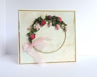Romantic card with wreath of roses, Shabby, handmade