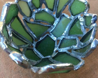 Little Green Genuine Sea Glass Tea Light Holder - Don't buy yet!