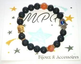 Pearl bracelet, Buddha & hand of Fatima