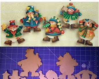 1 set Frivolious Frosty Fellows wood cutouts to paint - design by Kay Quist