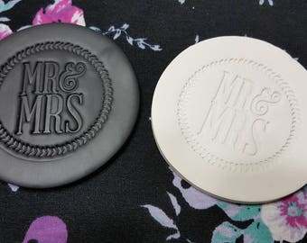 """Black and White """"Mr. And Mrs."""" Polymer Clay Coasters Set of 4"""