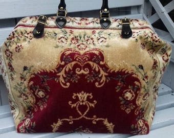 Handmade Weekend/Overnight Red and Gold Coloured Persian style Plush Carpet Bag /Mary Poppins Bag
