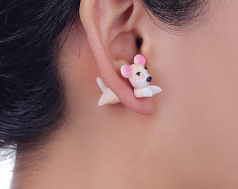 Polymer Clay Cute Puppy Dog Stud Earring Fashion Jewelry Cartoon 3D Animal Earrings For Women Girl Party Gift