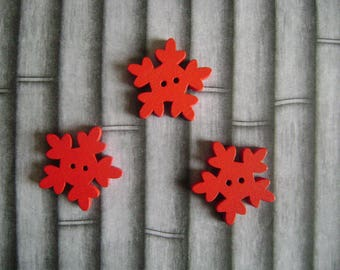 Red snowflakes buttons